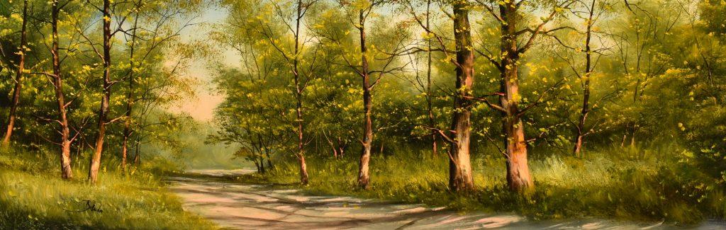 Benda Zoltán – Tavaszi séta (40x120 cm; olaj/farost)