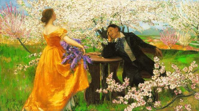 Csók István – A tavasz ébredése (103x184 cm; olaj/vászon)